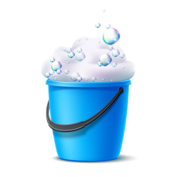 Realistic plastic bucket with soapy foam with colorful bubbles for household chores, floor mopping, dust cleaning design. Vector housework container. Blue bucket for cleaning and washing.