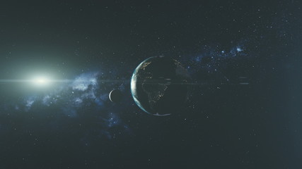 Wall Mural - Planet Earth Spin Moon Orbit Space Sun Beam Glow. Star Open Galaxy Constellation Satellite View Radiance Milky Way Light Space Travel Concept 3D Animation