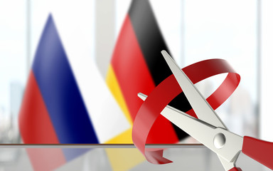Flags are Paired at Background While Scissors is Cutting Ribbon