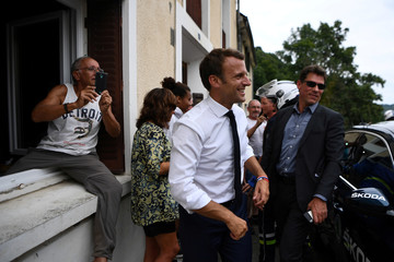 French President Macron on the Tour de France cycling race
