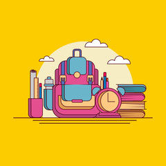 Back to School Flat Line Vector Illustration with School items and Element on Isolated Background.