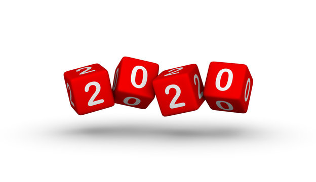 Flying Red Cubes with 2020.