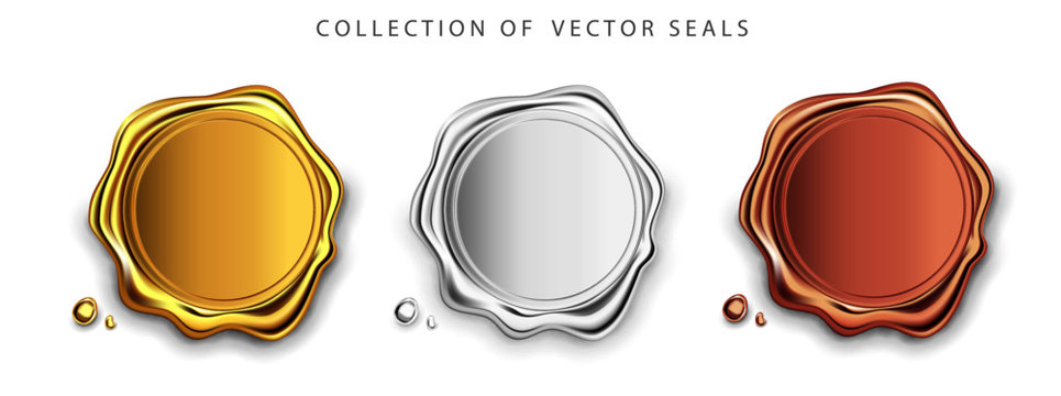 Gold, silver, bronze stamp wax seal approval vector sealing retro label set. Quality garantee label. Elite