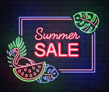 Neon sign summer big sale with fluorescent tropic leaves and flamingo. Vintage electric signboard.