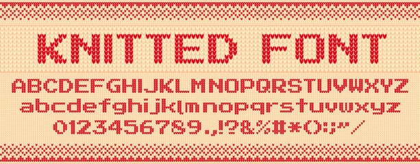 Knitted font. Christmas ugly sweater, knit letters and folk sweaters xmas text template vector illustration set