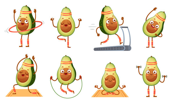 Cartoon avocado character fitness. Funny avocados in yoga poses, gym cardio and vegetarian sport food mascot vector illustration set