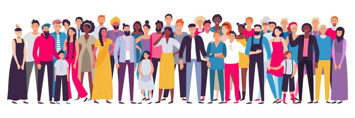 Multiethnic group of people. Society, multicultural community portrait and citizens. Young, adult and elder people vector illustration Wall mural