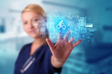 Doctor touching hologram screen displaying healthcare running symbols