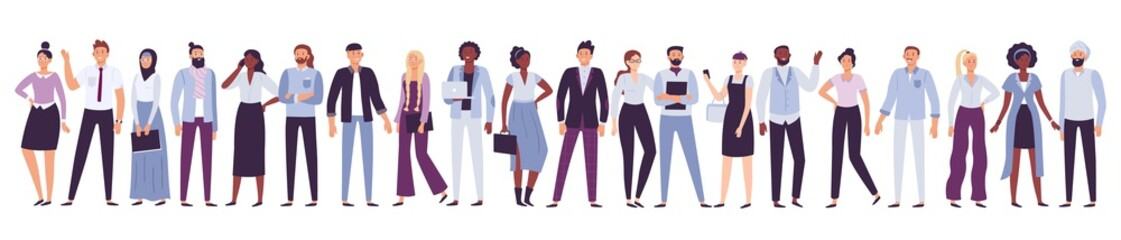 Business company people. Office team, multicultural collective workers group and businessman community vector illustration Wall mural