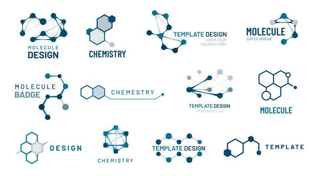 Hexagonal molecule badge. Molecular structure logo, molecular grids and chemistry hexagon molecules templates vector set