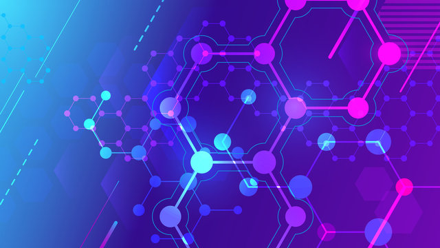 Color molecular structure. Hexagonal molecule grid, chemistry structures and science pharmaceutical research 3d vector background