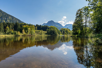 Oberstdorf - Viev to  Lake Moorweiher and View to the Mountain Panorama / Germany