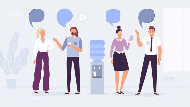 Water cooler talk. Office workers conversation, people drink water and talking with speech bubbles vector illustration