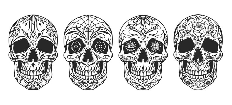 Vintage mexican sugar skulls set