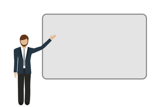 business man shows on a presentation board vector illustration EPS10