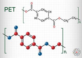 Polyethylene terephthalate or PET, PETE polyester, thermoplastic polymer molecule. Structural chemical formula and molecule model. Sheet of paper in a cage Fototapete