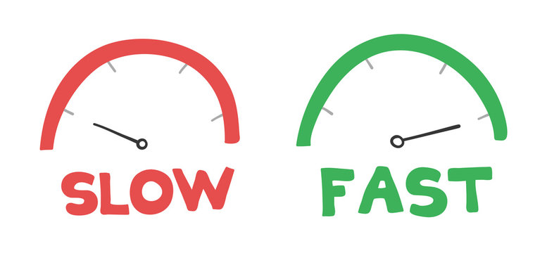 Vector hand-drawn illustration of speedometers. Slow and fast.