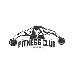 Fitness vector logo design template,design for gym and fitness vector. Fitness club logo with exercising athletic man, vector illustration