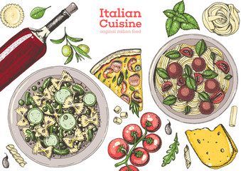Italian cuisine top view frame. A set of Italian dishes with pasta, pizza, ravioli, cheese. Food and drink menu design template. Vintage hand drawn vector illustration. Colorful image
