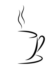 Abstract vector illustration of a Cup of hot coffee or tea with steam.