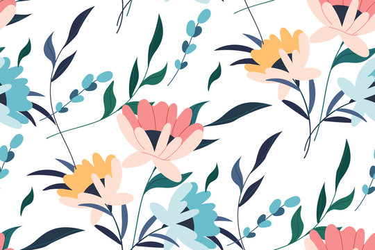 Vector seamless pattern. Tropical seamless leaves pattern. Hand drawn creative flowers. Colorful artistic background with blossom.