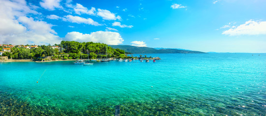 Seaside with turquoise bay and beach in Krk. Krk island, Croatia Wall mural
