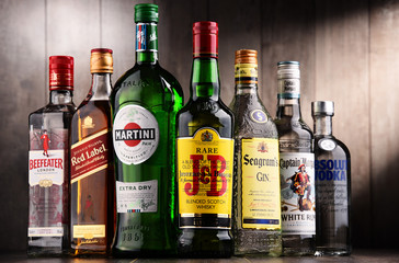 Bottles of assorted global liquor brands