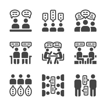 talking and discussion icon set,vector and illustration