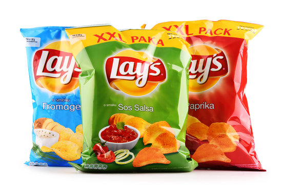 Packets of Lays potato chips isolated on white
