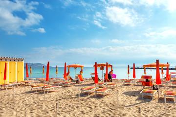 Wall Mural - Beach in resort city San Remo. Italy, Liguria