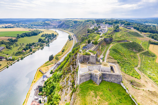 Fortress of Charlemont protects Givet town on the Belgian border and dominates Meuse river as it bends. Citadel, surrounded by outworks. Ardennes department in northern France