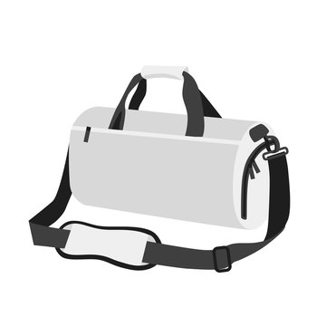 Sport white simple bag. Activity training backpack in white color. Clear flat mockup design style. vector illustration