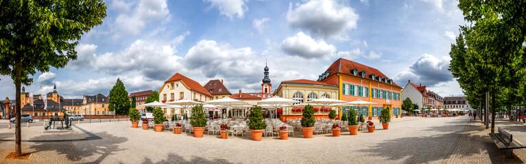 Marktplatz Panorama mit Spargel Denkmal, Schwetzingen, Deutschland  Wall mural