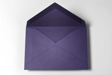 Dark Blue Empty Envelope over Grey Background