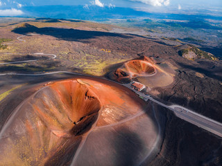 Foto op Plexiglas Zalm Extinct crater of volcano Etna Sicily, Italy. Panoramic aerial photo. Top view