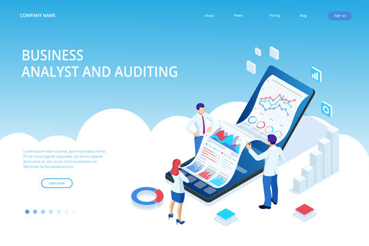 Landing page with Isometric Business and Finance Analysts, Analyzing Key Performance Indicators, Business Data Analyst and Auditing