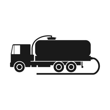 Vacuum truck. Black silhouette of a truck. Side view. Vector drawing. Isolated object on white background. Isolate.