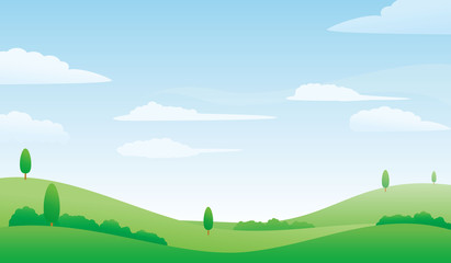 Foto auf Leinwand Pool Nature landscape vector illustration. Meadow and bright sky vector illustration with simple design suitable for background or wallpaper