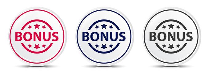 Bonus badge icon crystal flat round button set illustration design Wall mural