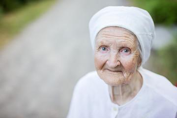 Smiling senior woman outdoors
