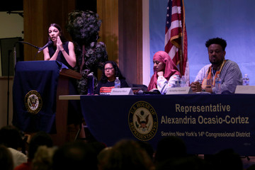 Representative Alexandria Ocasio-Cortez speaks during an Immigration Town Hall at The Nancy DeBenedittis Public School in Queens