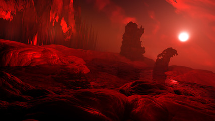 rendering of dark and scary hell environment with spooky landscape and fiery atmosphere