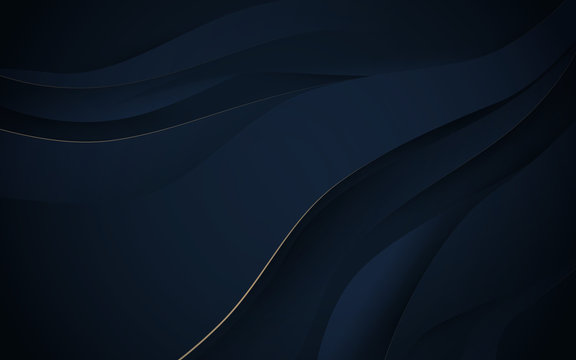 Abstract wavy luxury dark blue and gold background. Illustration vector