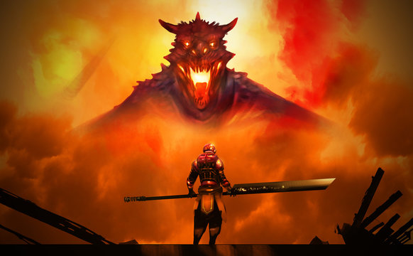 Digital illustration painting design style a man in Hi tech Armour suit hold sword standing against the Dragon in big explosion.