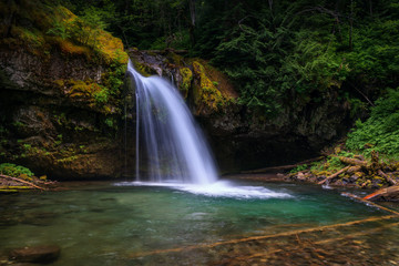 Iron Creek Falls In Pacific Northwest United States
