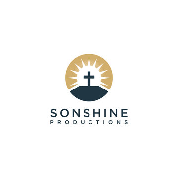 sonshine vector graphic , design with sun and church simple concept design logo minimalist
