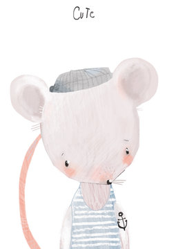cute little mouse boy with hat