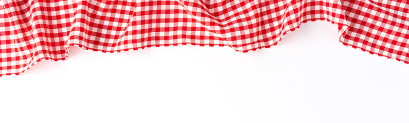 Red checkered tablecloth isolated on white background. Banner