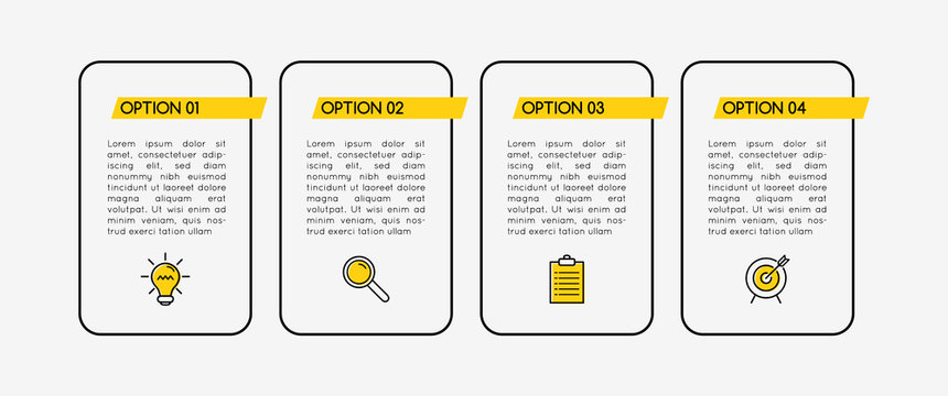Infographic with business icons and 4 options. Vector