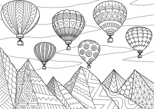 Line art drawing with editable stroke width of beautiful hot air balloons flying above mountains in summer for printing on anything or adult coloring book or coloring page. Vector illustration.